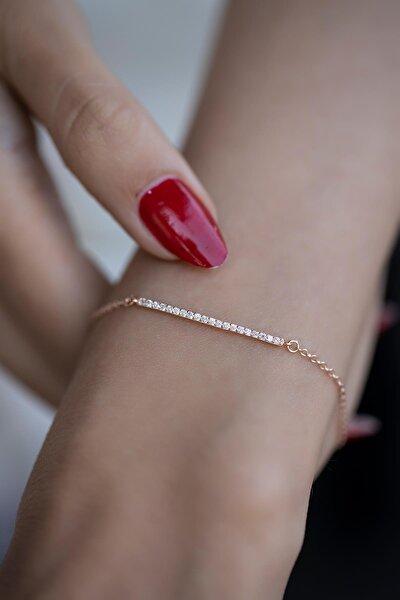 Kadın Çubuk Model Zirkon Taşlı Rose Kaplama Gümüş Bileklik İZLASLVR00339
