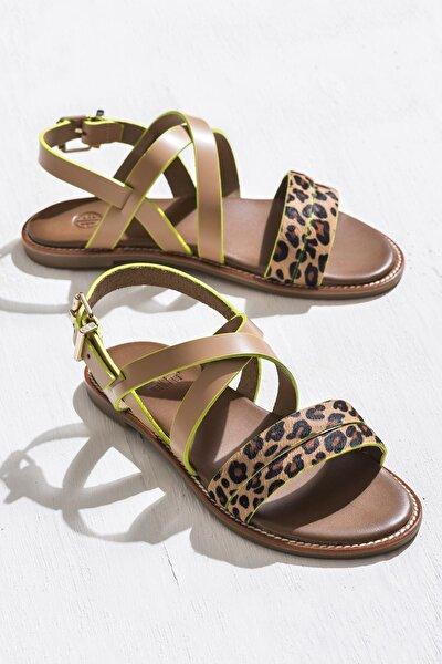 WENDI Leopar Camel Kadın Sandalet