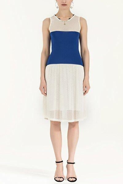 Kadın File Örgü Triko Elbise Mavi 28005