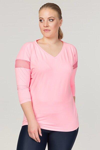 Büyük Beden Pembe Kadın Antrenman T-Shirt FS-1769