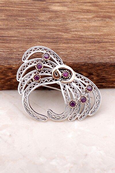 Kök Yakut Taşlı Vav Harfli Telkari İşlemeli Gümüş Broş 271
