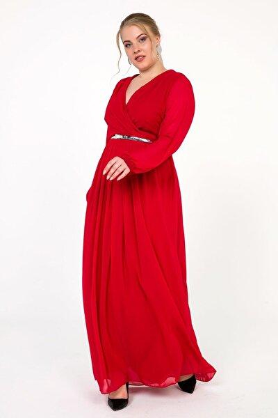 Kadın Kırmızı Kruvaze Uzun Kollu Şifon Büyük Beden Uzun Astarlı Elbise Kırmızı S-18Y2580006