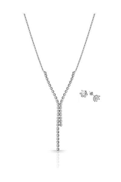 Gümüş Kaplama Su Yolu Kolye Küpe Set PS0795