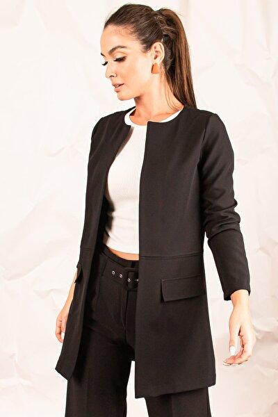 Kadın Siyah Beli Dikişli Uzun Ceket ARM-20K001021