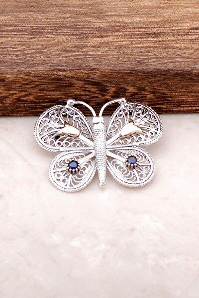 Safir Taşlı Kelebek Tasarımlı Telkari İşlemeli Gümüş Broş 275