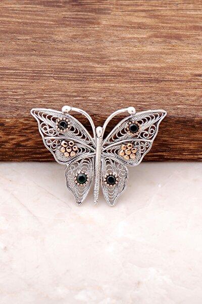 Kelebek Tasarımlı Elişi Telkari İşlemeli Gümüş Broş 278
