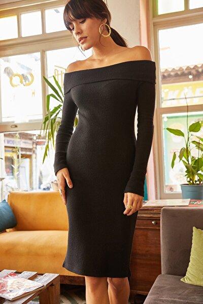 Kadın Siyah Madonna Yaka Likralı Elbise ELB-19000753