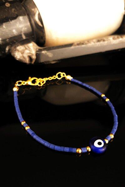 Doğaltaş Kadın Lapis Lazuli Taşı Altın Kaplama Bileklik KRB415