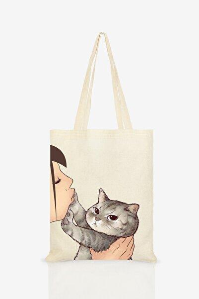 Kadın  Ekru Kedi Öpen Kız Baskılı Ham Bez Çanta C0108