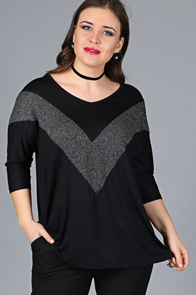Kadın Siyah Göğüs V Sim Bluz M9310