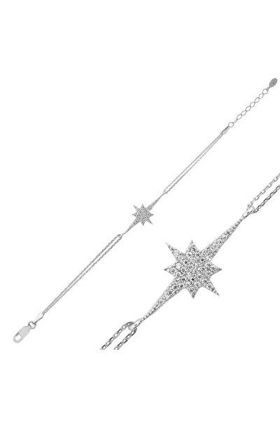 Kadın Gümüş Kutup Yıldızı Bayan Bileklik BR0460542