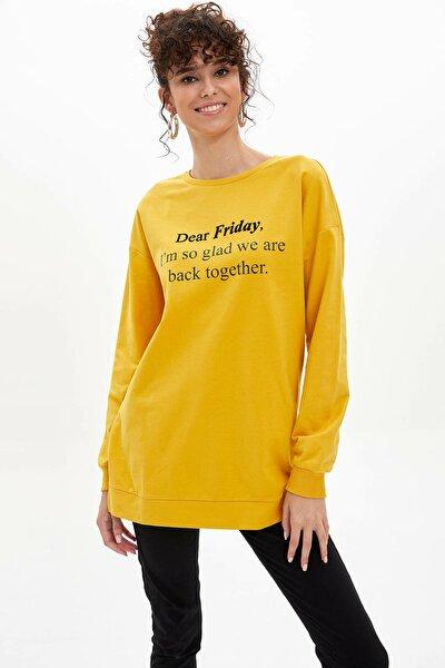 Kadın Sarı Baskılı Uzun Kollu Tunik