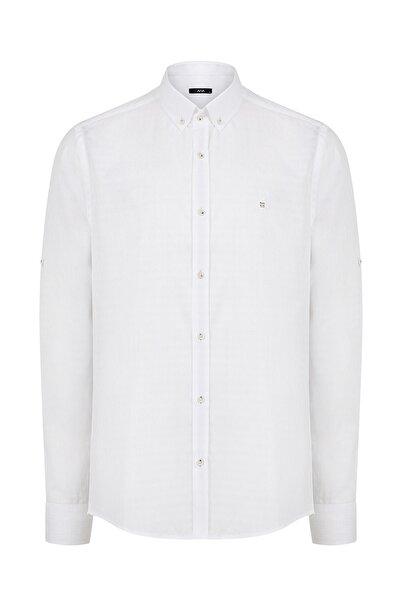 Armürlü Düğmeli Yaka Slim Fit Gömlek