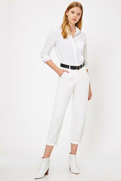 Kadın Beyaz Normal Bel Cep Detaylı Pantolon 0KAF40487GW