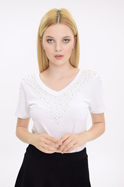 Kadın Beyaz V Yakalı İnci İşlemeli Kısa Kollu Bluz HN2067