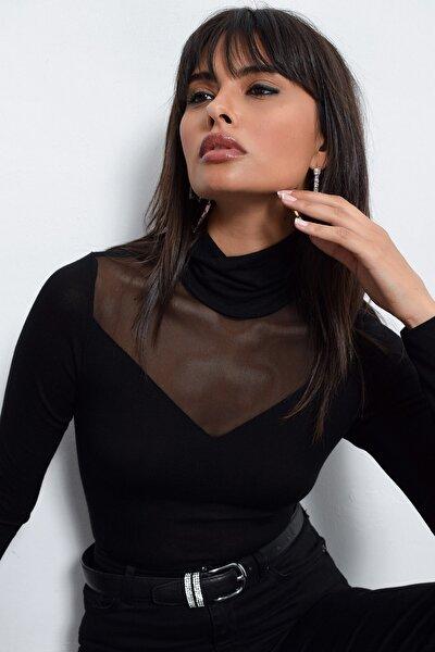 Kadın Siyah Üstü Tül Bluz TZ20751