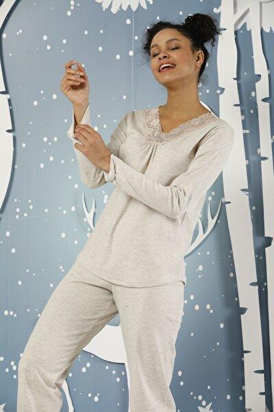 Kadın Bej Dantelli Interlok Pijama Takımı