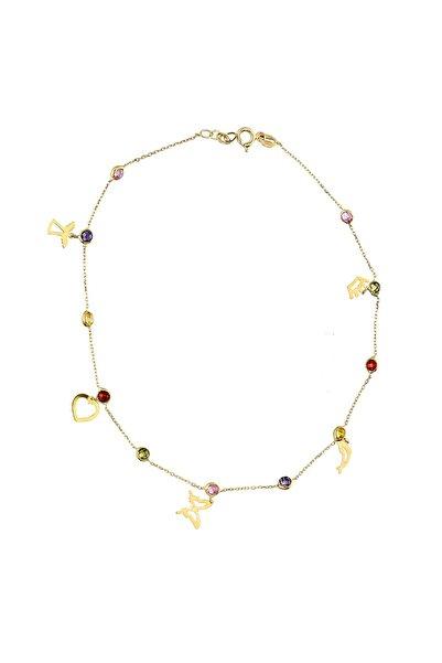 Kadın Altın Renkli Taşlı Şans Halhal CM0611