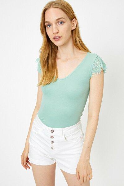 Kadın Yeşil V Yaka Kısa Kollu T-Shirt9YAL18907OK