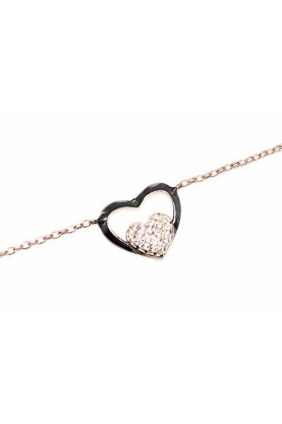 Kadın 925 Ayar Gümüş Kalp Anahtar Modeli Zincir Bileklik, Pembe Siyah - Beyaz Taş WBHYL085
