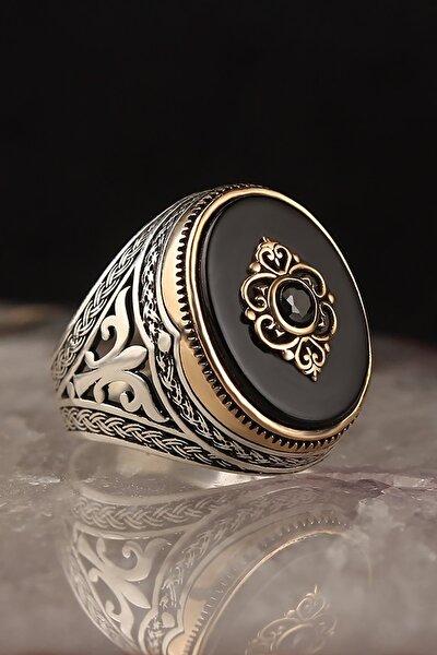 Oniks Taşlı 925 Ayar Gümüş Erkek Yüzük