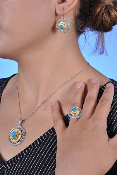 Kadın Firuze Taşlı Oksitli Telkari Gümüş Üçlü Set MNG201013536