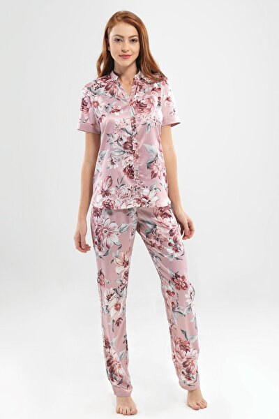 Kadın  6825 Baskılı Bayan Pijama Takımı Blackspade-6825