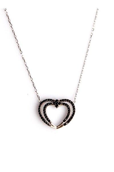 Zirkon Süslemeli Kalp Tasarım 925 Ayar Gümüş Kolye KLY-0066-27