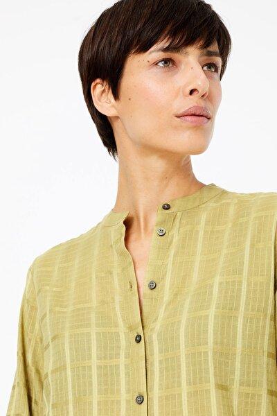 Kadın Yeşil Saf Pamuklu Ekose Tunik T43003622