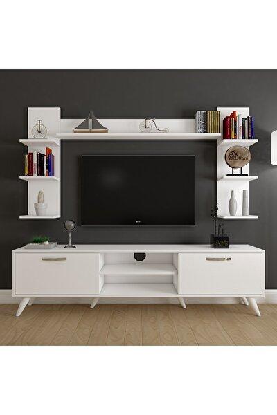 A9 Duvar Raflı Kitaplıklı Tv Ünitesi Duvara Monte Dolaplı Modern Ayaklı Tv Sehpası Beyaz M23
