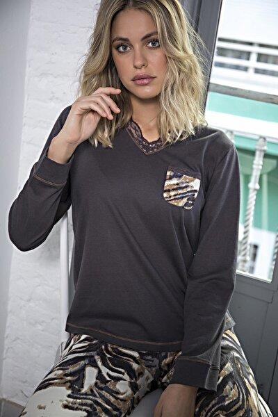 Kadın Kahverengi Pijama Takımı
