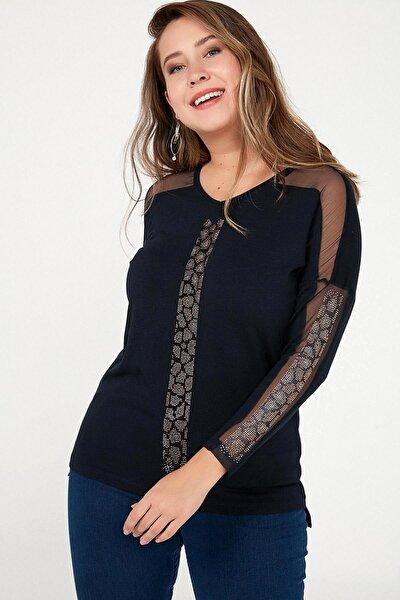 Kadın Lacivert Kolu Tül Ve Boncuk Detaylı Örme Yün Çilek Likra Tunik Lacivert S-20K3470012