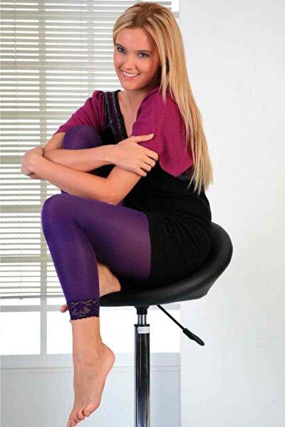 Kadın Mor Dantel Bilekli Tayt Kadın Giyim
