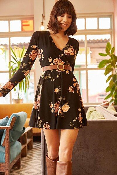 Kadın Siyah Büyük Çiçekli Kruvaze Elbise ELB-19000860