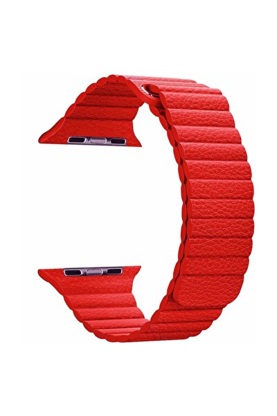 Watch Series 5 44mm Twist Leather Loop Kordon, Microsonic Kırmızı