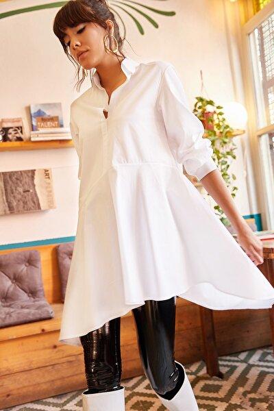 Kadın Beyaz Gömlek Yakalı Asimetrik Tunik TNK-19000034