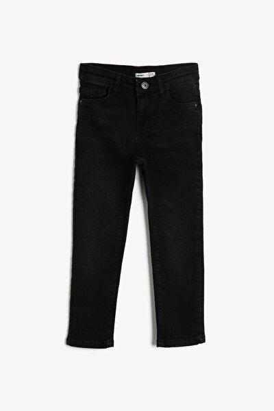 Siyah Erkek Çocuk Cep Detayli Jean Pantolon