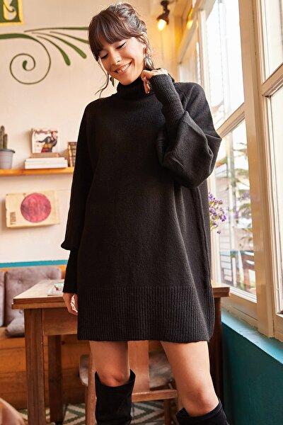 Kadın Siyah Balıkçı Yaka Balon Kol Salaş Triko Elbise ELB-19000867