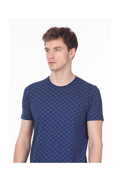 İndigo Baskılı Örme T - Shirt RP10113917