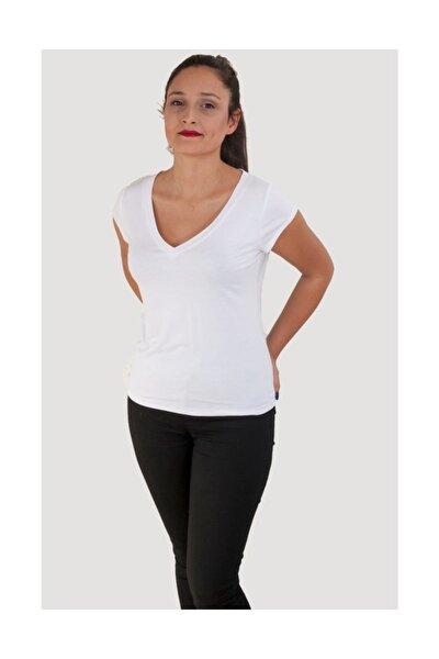 Basıc V Yaka Merserizeli  Beyaz T-shirt