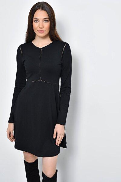 Kadın Siyah Şerit Detaylı Kloş Uzun Kollu Elbise HN2289
