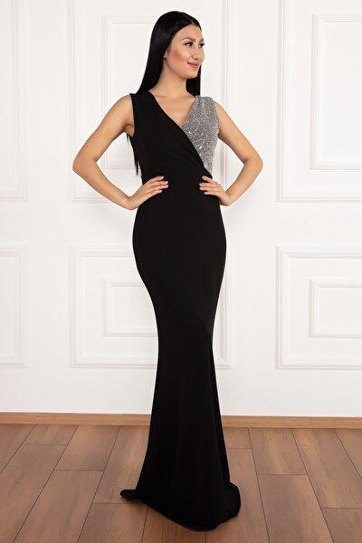 Ophelia Krep V Yaka Uzun Elbise
