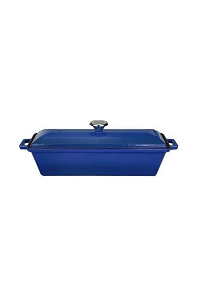 Döküm Ekmek Kabı / Terrine. Ölçü 11x29cm. - Mavi