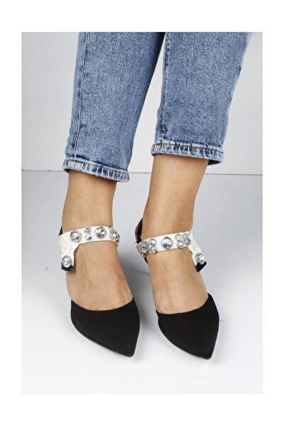 Kısa Topuk Bilek Taşlı Bayan Ayakkabı 1101