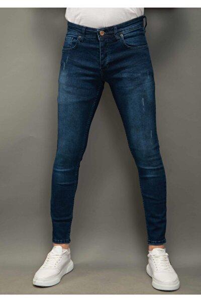 Erkek Mavi Kot Pantolon Skinnyfit Bıyıklı Taşlı 1155-2