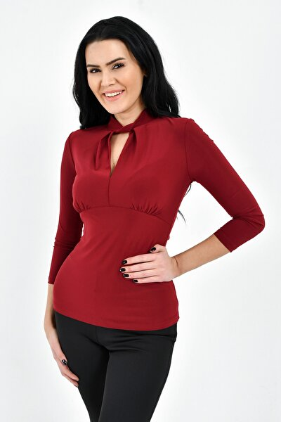 Kadın Bordo Yaka Burgu Detay Bluz 19L6742