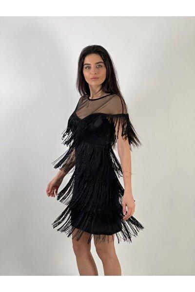 Kadın Siyah Saçaklı Elbise
