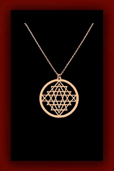 60 Cm Sri Yantra Kadın Gümüş Kolye Rose Gold