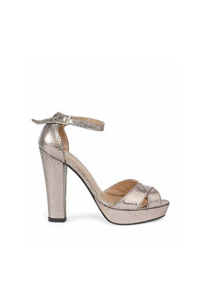 Kroko Baskı Topuklu Sandalet