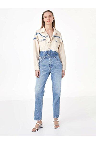 Batik Yıkama Jean Ceket